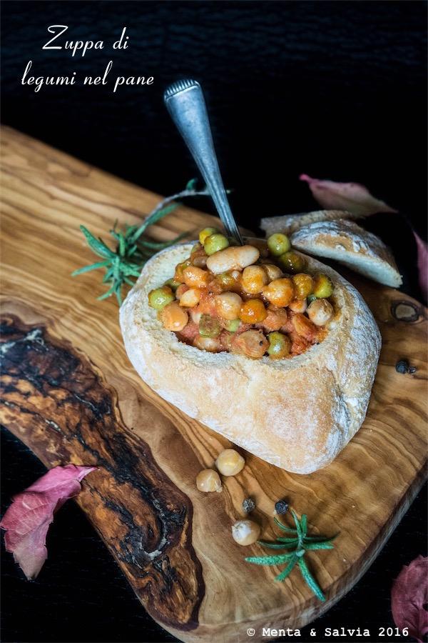 zuppa di legumi nel pane
